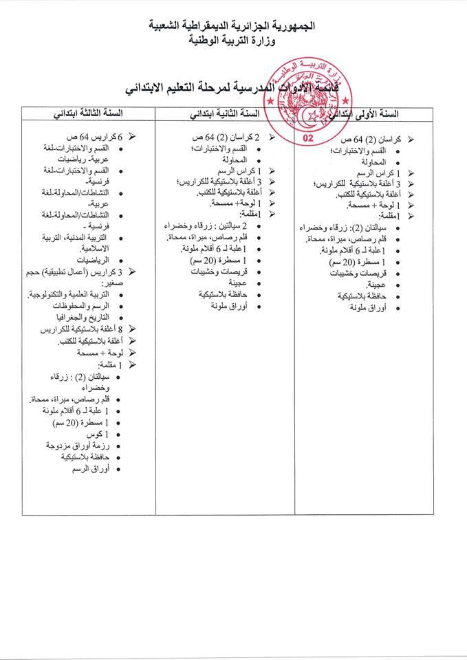 قائمة الادوات المدرسية الرسمية للسنة الاولى ابتدائي 2018-2019