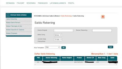 Cek Saldo Internet Banking BNI