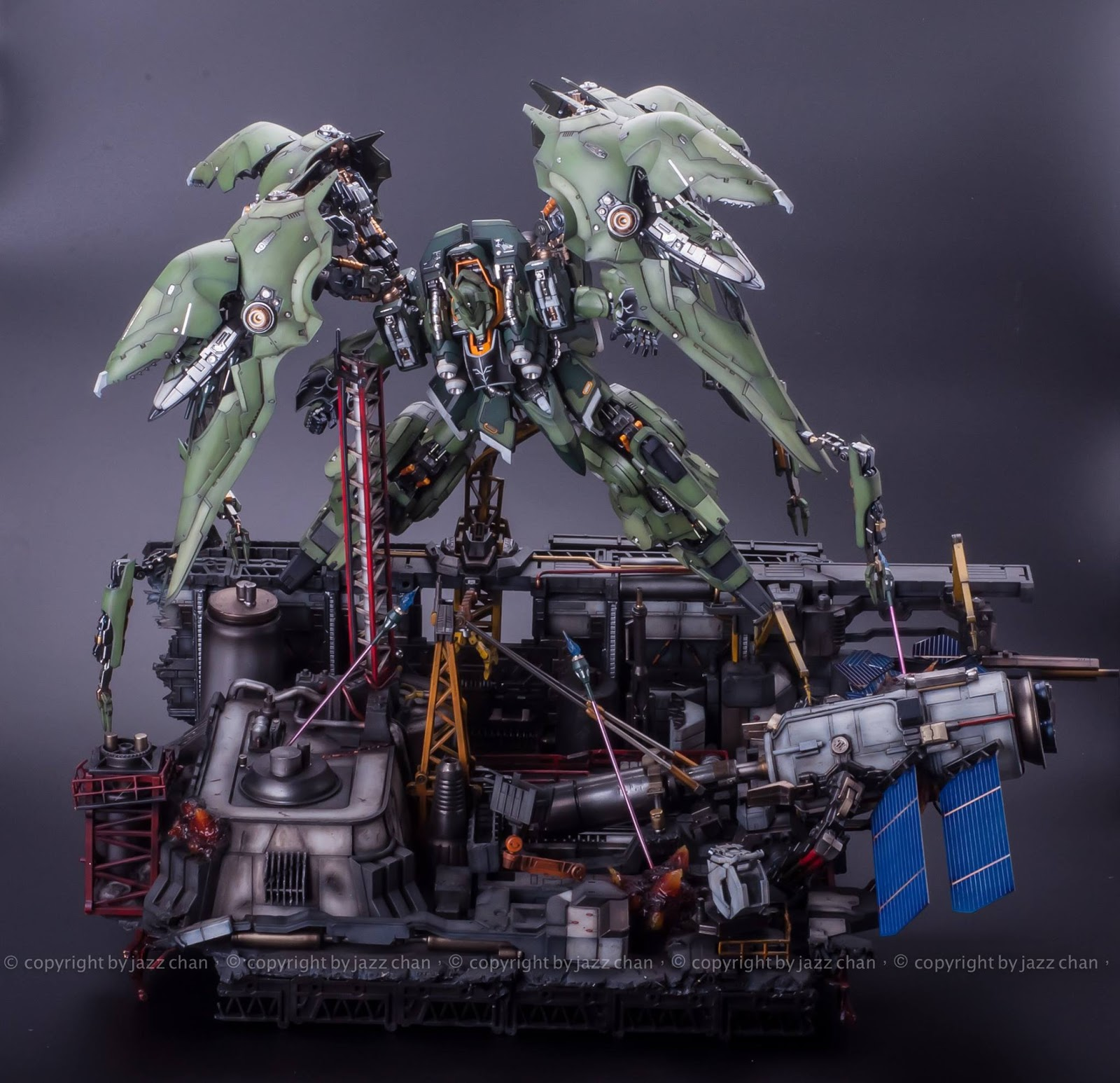 Custom Build: 1/100 NZ-666 Kshatriya + Diorama and LED - Gundam Kits