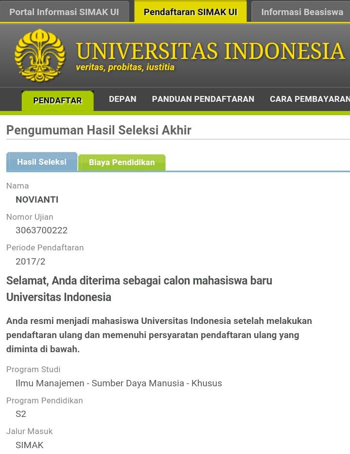 Pengalaman Simak S2 Universitas Indonesia