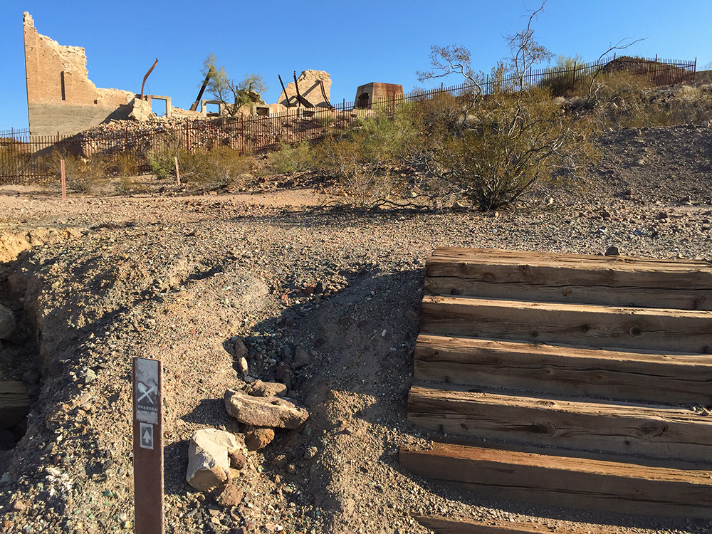 interpretive trail at Swansea Arizona looking at copper smelter collapse