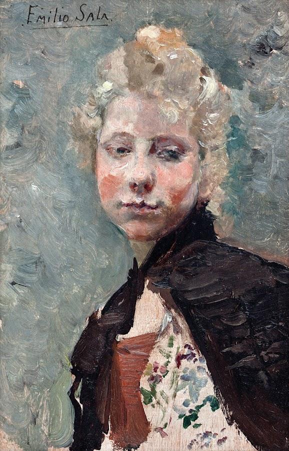 Emilio Sala Francés, Pintor Español, Retrato de una dama, Emilio Sala, Pintor Valenciano, Retratos de Emilio Sala Francés