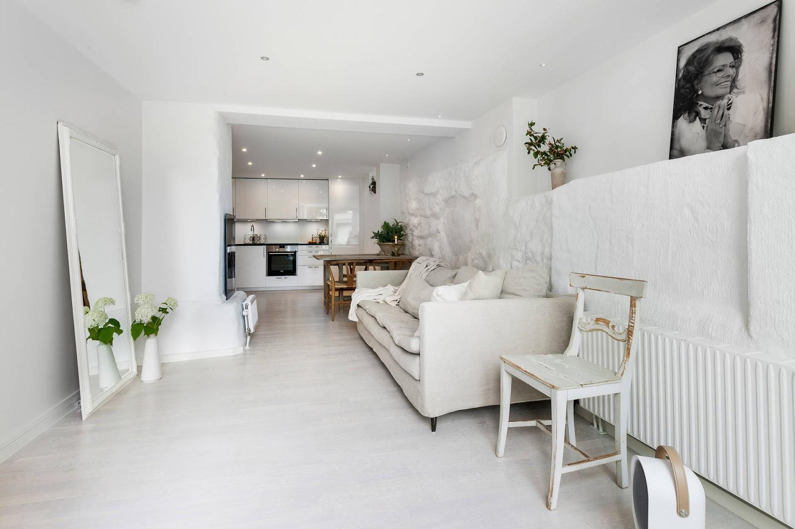 salon estilo nordico decoracion nordica sofa lino mesa vintage blanco cocina