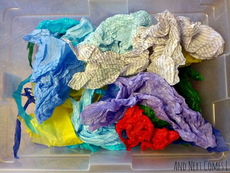 Tissue paper sensory bin for toddlers from And Next Comes L