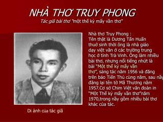 NHÀ THƠ TRUY PHONG VỚI BÀI THƠ CHẤN ĐỘNG THI ĐÀN NĂM 1956