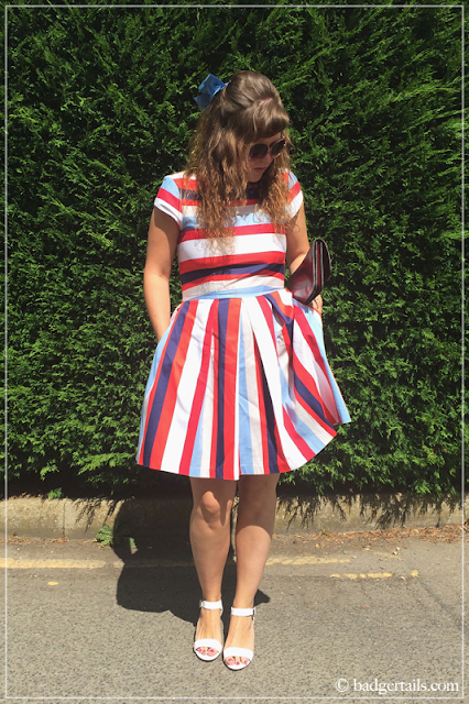 Woman-in-Blue-Red-and-White-Stripy-CLoset-London-Dress