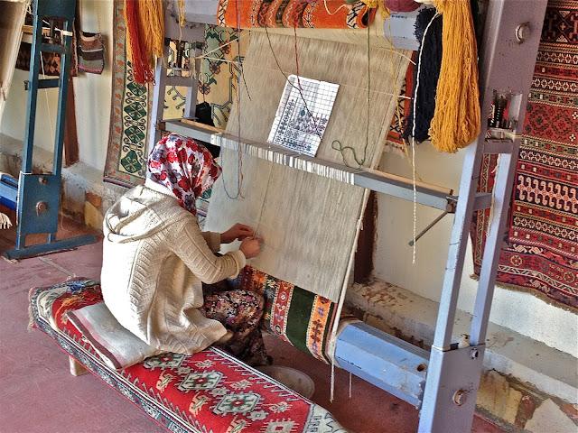 Fabricação de tapetes na Capadócia