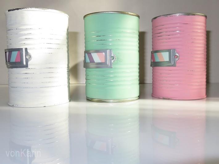 Drei Dosen in Pastellfarben - Upcycling von Konserven