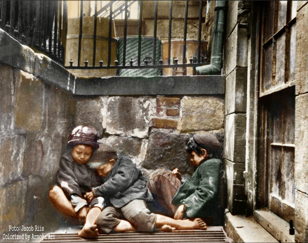 Children sleeping in Mulberry Street, color colorization colorized