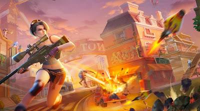 Chica animada con francotirador corriendo por las calles