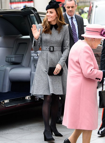 Kate Middleton is wearing a grey Catherine Walker dress and the Lock and Co hat