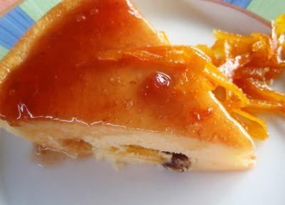 tarta de queso con jalea de espino albar