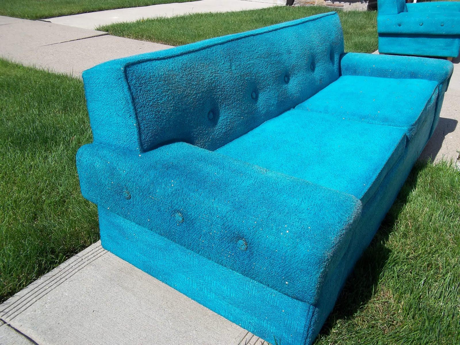 Mid Century Kroehler Turquoise Sofa SOLD