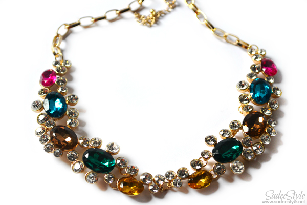 Colorful Diamante Interlocking Ring Necklace