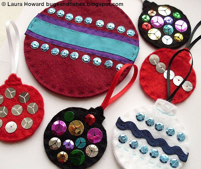 sparkly felt bauble ornaments