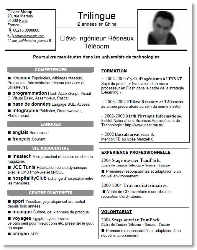 faire un bon cv informatique c