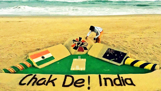 India vs Australia (T20 Cricket World Cup 2016 Semi Final, 27/03/3016) - Chak De! India Sand Art by Sudarsan Pattnaik at Puri Sea Beach.