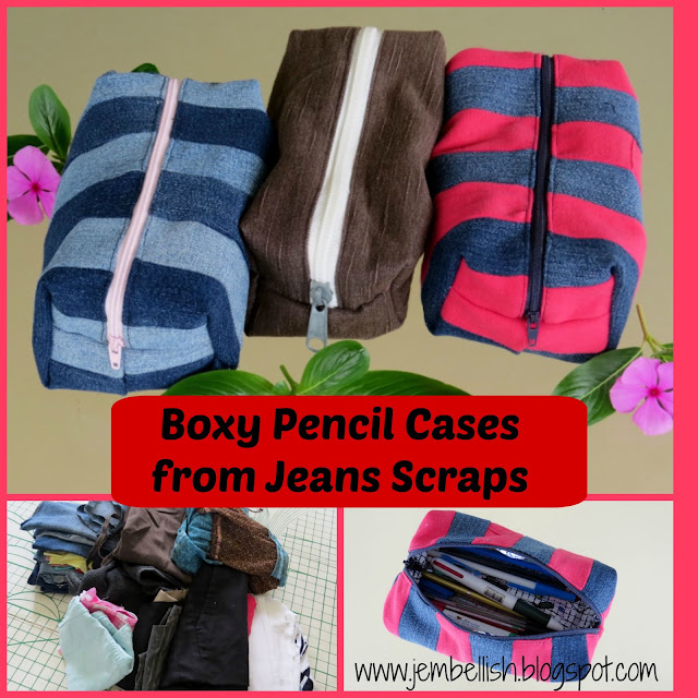 Boxy Denim Pencil Cases