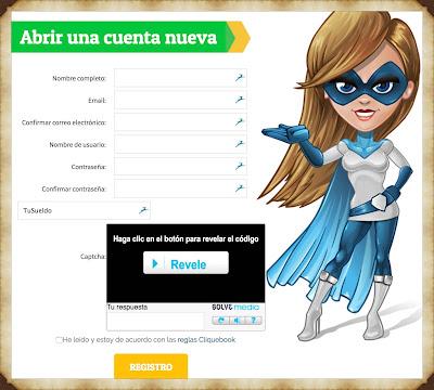 Formulario de Registro en CliqueBook