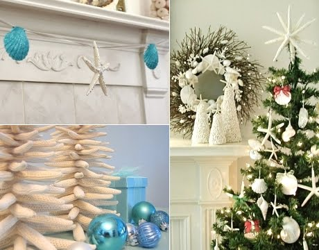 Christmas Decorations And Tree Ornaments With A Coastal