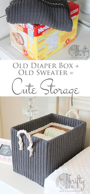 将旧尿布盒变成可爱的存储
