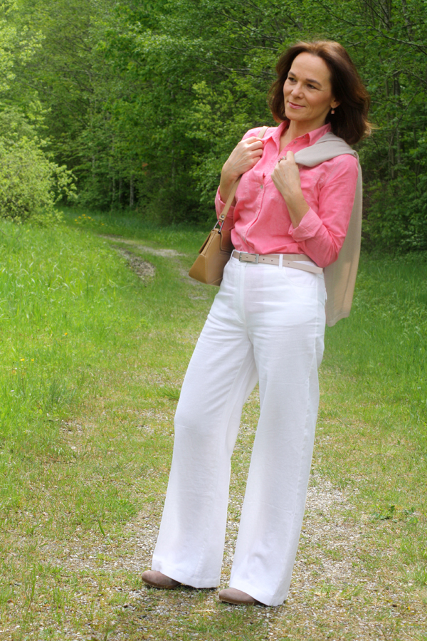 Pink Spring Look In Wide Leg Trousers Lady Of Style