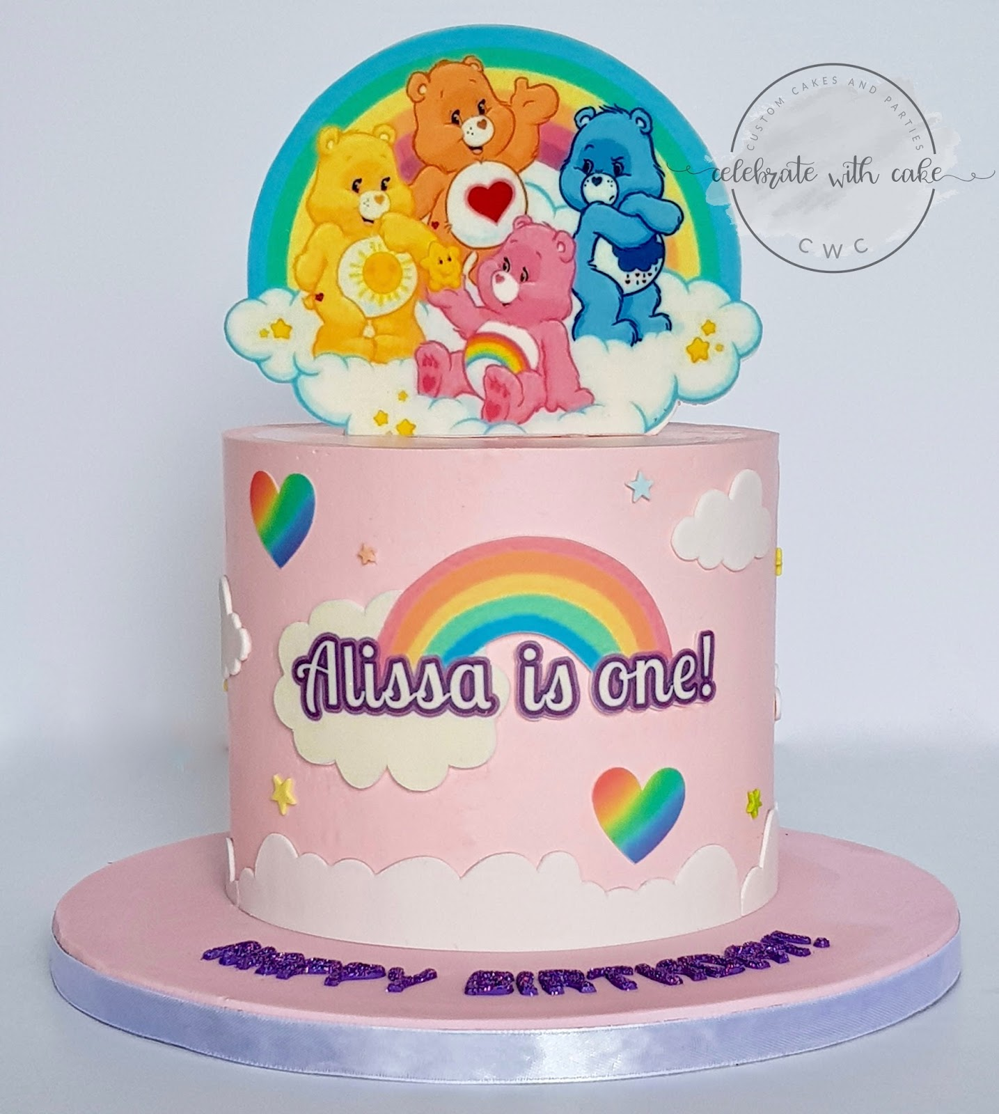 Celebrate With Cake Carebears Rainbow 1st Birthday