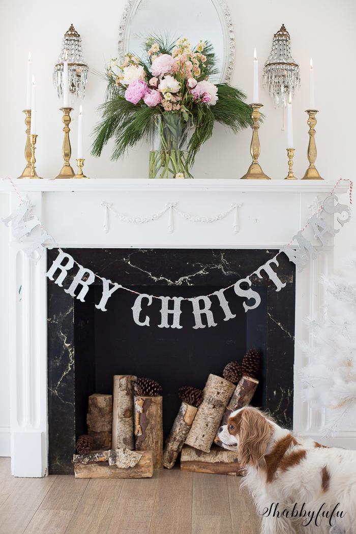 shabbyfufu christmas mantel with peonies
