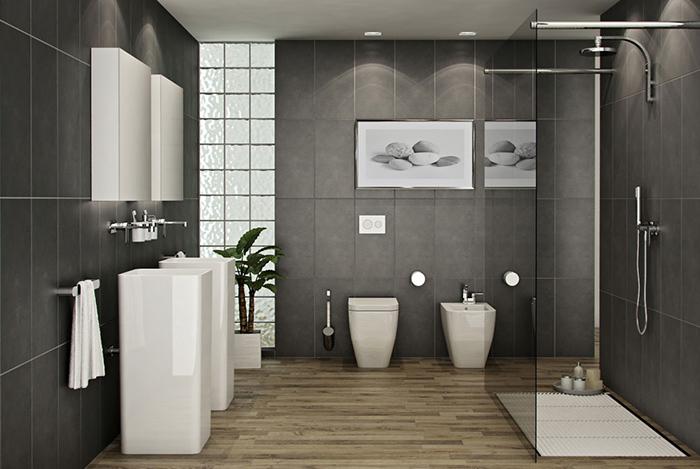 Mẫu Gạch giả gỗ cũng là một lựa chọn cho phòng tắm nếu như phòng tắm của bạn chỉ có các tông màu lạnh như xám đen, trắng