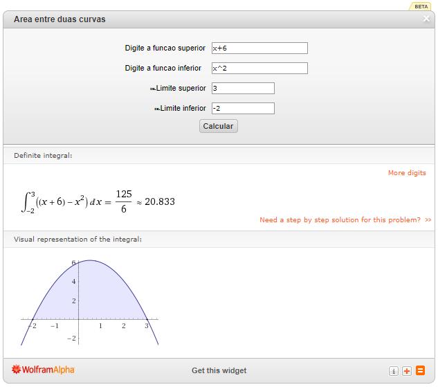 Widget para cálculo da área entre curvas, criado pelo prof. Edigley
