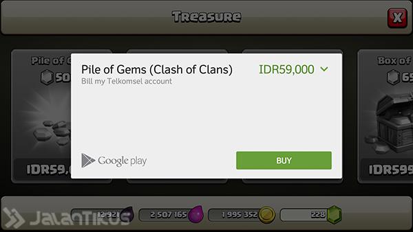 Cara Beli Gems di COC Pake Pulsa , COC , CLah of clans