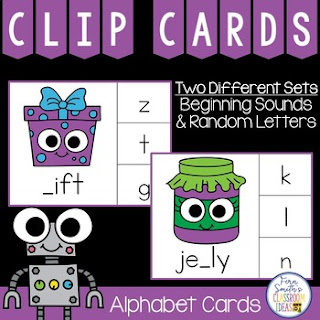 Alphabet Clip Cards Missing Letters Literacy Center at teacherspayteachers