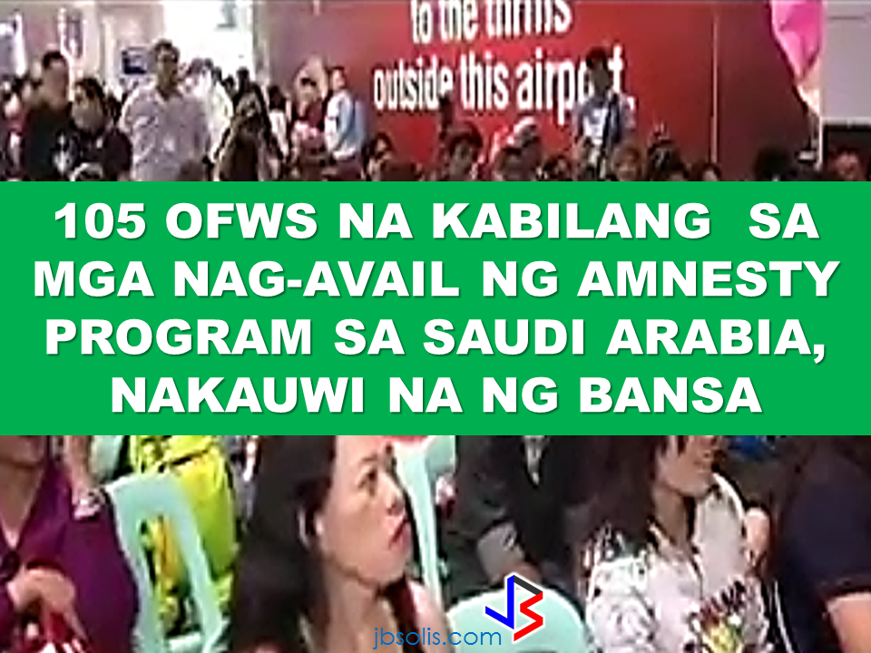 "105 undocumented OFWs mula sa Saudi Arabia, nakauwi na. One hundred and five undocumented OFWs who availed the amnesty program of the Saudi Crown Prince from Saudi Arabia has arrived home safely on April 13. The 90-day amnesty allows those who has problems with labor or residency to correct their status or go home if they wish to without the risk of  detention or paying fines.  Atty. Cesar Chavez, officer-in-charge Overseas Workers Welfare Administration's Repatriation and Assistance Division, said the government shouldered their airfare from Saudi Arabia and they will also take care of their transportation if they need to travel from Manila to their provinces. The government will also provide reintegration services or livelihood programs for them to start a new life in the country. Because of the amnesty program, they no longer need to pay fines or face any charges regarding their residency or labor violations. Ofws who returned home under the amnesty program can also go back to saudi to work  anytime if they wish to. In the usual practice, any expat who had been deported for violation in the kingdom will be blacklisted and will not be allowed to come back or work in their country. Such punishment has been waived under the existing amnesty program. During President rodrigo Duterte's visit in Saudi Arabia, he said that he will bring 250 undocumented OFWs with him when he return to the Philippines.  DOLE Secretary Silvestre Bello III also said that since the announcement of the 90-day amnesty, they already sent an augmentation team to assist the undocumented OFWs who want to avail the program by helping them in complying with the documents they need. Secretary Bello also said that unpaid claims of the OFWs are under process and the augmentation team also help in determining the validity of the claims. When the claims are already verified, the Philippine government through OWWA is willing to give the money claims in advance to the claimants. Recent retrenchment in Saudi Arabia due to oil price crisis had affected more than 11,000 OFWs left stranded without getting their salary for months as well as their indemnities, five thousand of them had already gone home without receiving a single halala. Saudi government has acted regarding the issue assuring that the OFWs will receive the money due to them even if they are already been repatriated. President Rodrigo Duterte also promised that his government will continue to repatriate the stranded OFWs and that some 250 OFWs who will be going home with him will only be the first batch. The Filipino community in Saudi Arabia was so grateful of the president. During the question and answer provided after his speech, some OFWs did not even asked questions but only expressed their deep gratitude to President Duterte for the help and compassion he is giving to the OFWs around the world.  Source: CNN Phils, GMA Recommended: The President assures that he will bring 250 stranded OFWs from Saudi Arabia with him when he returned to the Philippines after a series of visit in the Middle East.  During his speech in Davao before his departure, he said that God-willing, he will bring some OFWs in death row with him when he return to the country. During his speech in front of the Filipino Community in Riyadh , Saudi Arabia, President Duterte said that he will be bringing home the first batch of 250 OFWs who had been stranded in Saudi Arabia for a very long time, and they will continue to do it.  ""We are arranging for the transportation of 250 OFWs who hopefully be back to the Philippines in time for the return of President Rodrigo Duterte.., "" DOLE Secretary Silvestre Bello III said.  Secretary Bello also added that since the announcement of the Saudi Crown Prince Deputy Prime Minister and the Minister of Interior Prince Mohammed bin Naif Al Saud about the amnesty program for expats, DOLE has already sent an augmentation team to assist the OFWs  to comply with the requirements for the amnesty and a lot of them have already availed it.  According to Secretary Bello, they are also working on the unpaid claims of the OFWs and they are only validating it in order to establish their claims. If they are all been verified, OWWA will be paying their money claims in advance. President Duterte will also be visiting Bahrain and Qatar after his visit to Saudi Arabia and is expected to be back in the Philippines on April 17. Recommended:  ""They've been given the clearance. I will fly them home. When I return, I'll be bringing some of them home, "" he said during a pre-departure press briefing in Davao City.  Reports saying that the Embassy officials in Saudi Arabia have been acting slow with regards to helping stranded and runaway OFWs are not entirely correct according to Philippine Consul General Iric Arribas. He also said that the Philippine Embassy in Riyadh and  the philippine Consulate in Jeddah are both providing the OFWs all the help they need which includes repatriation as well.  700 OFWs have been in jails in Saudi Arabia for various charges because there are no assistance coming from the Embassy officials, according to the reports from various OFW advocates.    The OFWs are the reason why President Rodrigo Duterte is pushing through with the campaign on illegal drugs, acknowledging their hardships and sacrifices. He said that as he visit the countries where there are OFWs, he has heard sad stories about them: sexually abused Filipinas,domestic helpers being forced to work on a number of employers. ""I have been to many places. I have been to the Middle East. You know, the husband is working in one place, the wife in another country. The so many sad stories I hear about our women being raped, abused sexually,"" The President said. About Filipino domestic helpers, he said:  ""If you are working on a family and the employer's sibling doesn't have a helper, you will also work for them. And if in a compound,the son-in-law of the employer is also living in there, you will also work for him.So, they would finish their work on sunrise."" He even refer to the OFWs being similar to the African slaves because of the situation that they have been into for the sake of their families back home. Citing instances that some of them, out of deep despair, resorted to ending their own lives.  The President also said that he finds it heartbreaking to know that after all the sacrifices of the OFWs working abroad for the future of their families they would come home just to learn that their children has been into illegal drugs. ""I made no bones about my hatred. I said, 'If you do drugs in my city, if you destroy our daughters and sons, I'll just have to kill you.' I repeated the same warning when i became president,"" he said.   Critics of the so-called violent war on drugs under President Duterte's administration includes local and international human rights groups, linking the campaign on thousands of drug-related killings.  Police figures show that legitimate police operations have led to over 2,600 deaths of individuals involved in drugs since the war on drugs began. However, the war on drugs has been evident that the extent of drug menace should be taken seriously. The drug personalities includes high ranking officials and they thrive in the expense of our own children,if not being into drugs, being victimized by drug related crimes. The campaign on illegal drugs has somehow made a statement among the drug pushers and addicts. If the common citizen fear walking on the streets at night worrying about the drug addicts lurking in the dark, now they can walk peacefully while the drug addicts hide in fear that the police authorities might get them. Source:GMA {INSERT ALL PARAGRAPHS HERE {EMBED 3 FB PAGES POST FROM JBSOLIS/THOUGHTSKOTO/PEBA HERE OR INSERT 3 LINKS}   ©2017 THOUGHTSKOTO www.jbsolis.com SEARCH JBSOLIS The OFWs are the reason why President Rodrigo Duterte is pushing through with the campaign on illegal drugs, acknowledging their hardships and sacrifices. He said that as he visit the countries where there are OFWs, he has heard sad stories about them: sexually abused Filipinas,domestic helpers being forced to work on a number of employers. ©2017 THOUGHTSKOTO www.jbsolis.com SEARCH JBSOLIS ""They've been given the clearance. I will fly them home. When I return, I'll be bringing some of them home, "" he said during a pre-departure press briefing in Davao City. The President assures that he will bring 250 stranded OFWs from Saudi Arabia with him when he returned to the Philippines after a series of visit in the Middle East.  During his speech in Davao before his departure, he said that God-willing, he will bring some OFWs in death row with him when he return to the country. During his speech in front of the Filipino Community in Riyadh , Saudi Arabia, President Duterte said that he will be bringing home the first batch of 250 OFWs who had been stranded in Saudi Arabia for a very long time, and they will continue to do it.  ""We are arranging for the transportation of 250 OFWs who hopefully be back to the Philippines in time for the return of President Rodrigo Duterte.., "" DOLE Secretary Silvestre Bello III said.  Secretary Bello also added that since the announcement of the Saudi Crown Prince Deputy Prime Minister and the Minister of Interior Prince Mohammed bin Naif Al Saud about the amnesty program for expats, DOLE has already sent an augmentation team to assist the OFWs  to comply with the requirements for the amnesty and a lot of them have already availed it.  According to Secretary Bello, they are also working on the unpaid claims of the OFWs and they are only validating it in order to establish their claims. If they are all been verified, OWWA will be paying their money claims in advance. President Duterte will also be visiting Bahrain and Qatar after his visit to Saudi Arabia and is expected to be back in the Philippines on April 17. Recommended:  ""They've been given the clearance. I will fly them home. When I return, I'll be bringing some of them home, "" he said during a pre-departure press briefing in Davao City.  Reports saying that the Embassy officials in Saudi Arabia have been acting slow with regards to helping stranded and runaway OFWs are not entirely correct according to Philippine Consul General Iric Arribas. He also said that the Philippine Embassy in Riyadh and  the philippine Consulate in Jeddah are both providing the OFWs all the help they need which includes repatriation as well.  700 OFWs have been in jails in Saudi Arabia for various charges because there are no assistance coming from the Embassy officials, according to the reports from various OFW advocates.    The OFWs are the reason why President Rodrigo Duterte is pushing through with the campaign on illegal drugs, acknowledging their hardships and sacrifices. He said that as he visit the countries where there are OFWs, he has heard sad stories about them: sexually abused Filipinas,domestic helpers being forced to work on a number of employers. ""I have been to many places. I have been to the Middle East. You know, the husband is working in one place, the wife in another country. The so many sad stories I hear about our women being raped, abused sexually,"" The President said. About Filipino domestic helpers, he said:  ""If you are working on a family and the employer's sibling doesn't have a helper, you will also work for them. And if in a compound,the son-in-law of the employer is also living in there, you will also work for him.So, they would finish their work on sunrise."" He even refer to the OFWs being similar to the African slaves because of the situation that they have been into for the sake of their families back home. Citing instances that some of them, out of deep despair, resorted to ending their own lives.  The President also said that he finds it heartbreaking to know that after all the sacrifices of the OFWs working abroad for the future of their families they would come home just to learn that their children has been into illegal drugs. ""I made no bones about my hatred. I said, 'If you do drugs in my city, if you destroy our daughters and sons, I'll just have to kill you.' I repeated the same warning when i became president,"" he said.   Critics of the so-called violent war on drugs under President Duterte's administration includes local and international human rights groups, linking the campaign on thousands of drug-related killings.  Police figures show that legitimate police operations have led to over 2,600 deaths of individuals involved in drugs since the war on drugs began. However, the war on drugs has been evident that the extent of drug menace should be taken seriously. The drug personalities includes high ranking officials and they thrive in the expense of our own children,if not being into drugs, being victimized by drug related crimes. The campaign on illegal drugs has somehow made a statement among the drug pushers and addicts. If the common citizen fear walking on the streets at night worrying about the drug addicts lurking in the dark, now they can walk peacefully while the drug addicts hide in fear that the police authorities might get them. Source:GMA {INSERT ALL PARAGRAPHS HERE {EMBED 3 FB PAGES POST FROM JBSOLIS/THOUGHTSKOTO/PEBA HERE OR INSERT 3 LINKS}   ©2017 THOUGHTSKOTO www.jbsolis.com SEARCH JBSOLIS The OFWs are the reason why President Rodrigo Duterte is pushing through with the campaign on illegal drugs, acknowledging their hardships and sacrifices. He said that as he visit the countries where there are OFWs, he has heard sad stories about them: sexually abused Filipinas,domestic helpers being forced to work on a number of employers. ©2017 THOUGHTSKOTO www.jbsolis.com SEARCH JBSOLIS Reports saying that the Embassy officials in Saudi Arabia have been acting slow with regards to helping stranded and runaway OFWs are not entirely correct according to Philippine Consul General Iric Arribas. He also said that the Philippine Embassy in Riyadh and  the philippine Consulate in Jeddah are both providing the OFWs all the help they need which includes repatriation as well.  700 OFWs have been in jails in Saudi Arabia for various charges because there are no assistance coming from the Embassy officials, according to the reports from various OFW advocates.    The OFWs are the reason why President Rodrigo Duterte is pushing through with the campaign on illegal drugs, acknowledging their hardships and sacrifices. He said that as he visit the countries where there are OFWs, he has heard sad stories about them: sexually abused Filipinas,domestic helpers being forced to work on a number of employers. ""I have been to many places. I have been to the Middle East. You know, the husband is working in one place, the wife in another country. The so many sad stories I hear about our women being raped, abused sexually,"" The President said. About Filipino domestic helpers, he said:  ""If you are working on a family and the employer's sibling doesn't have a helper, you will also work for them. And if in a compound,the son-in-law of the employer is also living in there, you will also work for him.So, they would finish their work on sunrise."" He even refer to the OFWs being similar to the African slaves because of the situation that they have been into for the sake of their families back home. Citing instances that some of them, out of deep despair, resorted to ending their own lives.  The President also said that he finds it heartbreaking to know that after all the sacrifices of the OFWs working abroad for the future of their families they would come home just to learn that their children has been into illegal drugs. ""I made no bones about my hatred. I said, 'If you do drugs in my city, if you destroy our daughters and sons, I'll just have to kill you.' I repeated the same warning when i became president,"" he said.   Critics of the so-called violent war on drugs under President Duterte's administration includes local and international human rights groups, linking the campaign on thousands of drug-related killings.  Police figures show that legitimate police operations have led to over 2,600 deaths of individuals involved in drugs since the war on drugs began. However, the war on drugs has been evident that the extent of drug menace should be taken seriously. The drug personalities includes high ranking officials and they thrive in the expense of our own children,if not being into drugs, being victimized by drug related crimes. The campaign on illegal drugs has somehow made a statement among the drug pushers and addicts. If the common citizen fear walking on the streets at night worrying about the drug addicts lurking in the dark, now they can walk peacefully while the drug addicts hide in fear that the police authorities might get them. Source:GMA {INSERT ALL PARAGRAPHS HERE {EMBED 3 FB PAGES POST FROM JBSOLIS/THOUGHTSKOTO/PEBA HERE OR INSERT 3 LINKS}   ©2017 THOUGHTSKOTO www.jbsolis.com SEARCH JBSOLIS The OFWs are the reason why President Rodrigo Duterte is pushing through with the campaign on illegal drugs, acknowledging their hardships and sacrifices. He said that as he visit the countries where there are OFWs, he has heard sad stories about them: sexually abused Filipinas,domestic helpers being forced to work on a number of employers. ©2017 THOUGHTSKOTO www.jbsolis.com SEARCH JBSOLIS"