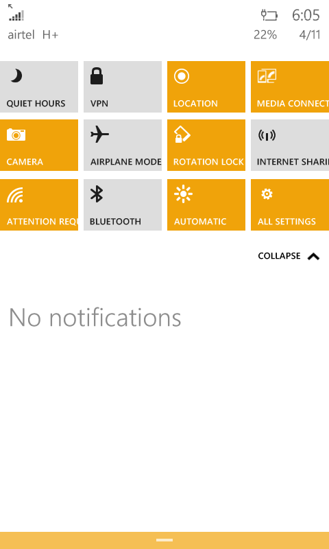 Action center windows 10 phone build 10051