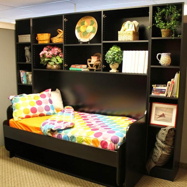 giường gấp, Giường gấp thành bàn làm việc kèm tủ kệ trang trí giá rẻ