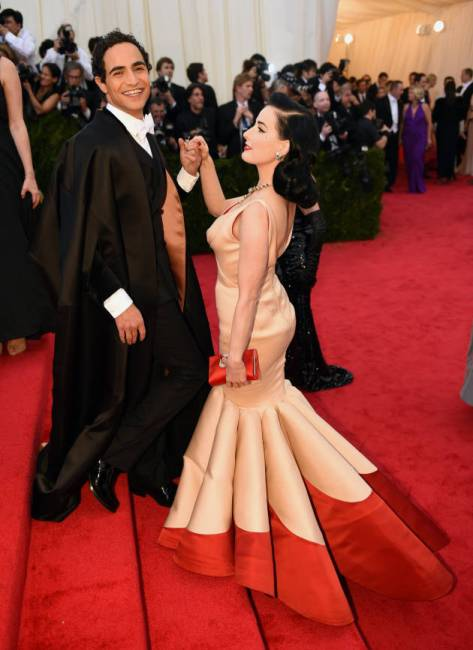 Dita von Teese and Zac Posen at the Met Gala 2014