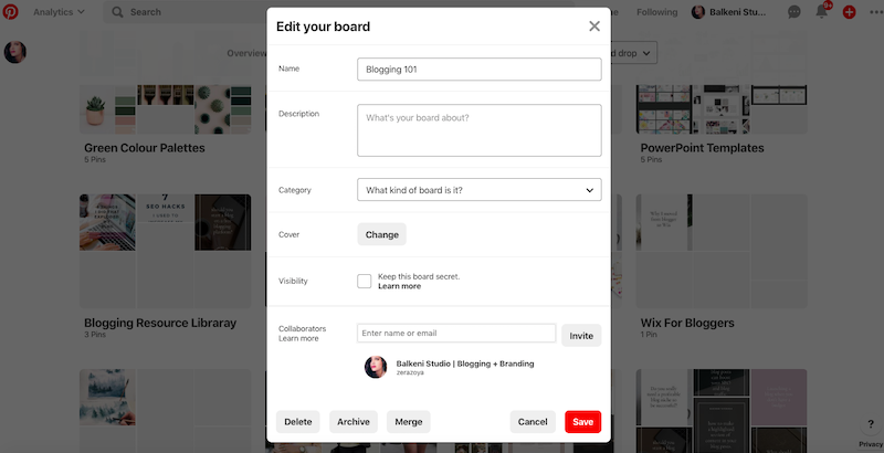 edit your pinterest boards