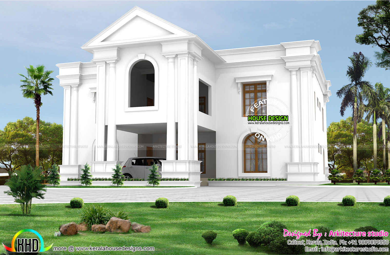 Long pillar colonial style home kerala home design and for Colonial style house plans kerala