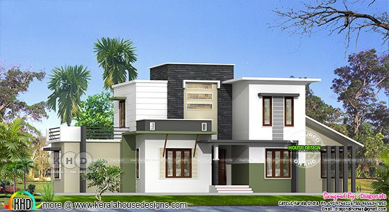 Modern flat roof 4 bedroom house architecture