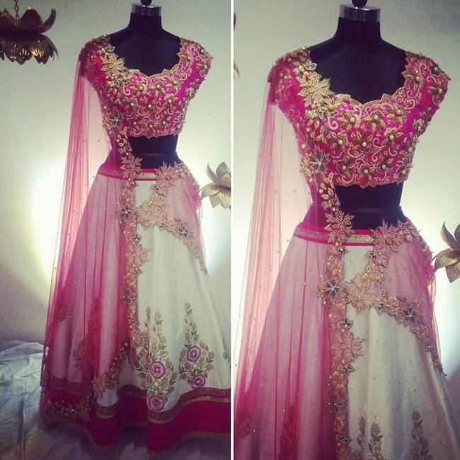 Pink Kundan work Blouse Lehenga
