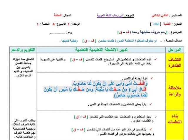 جذاذات الكتابة للمستوى الثاني الأسبوع الرابع من الوحدة الاولى مرجع في رحاب اللغة العربية