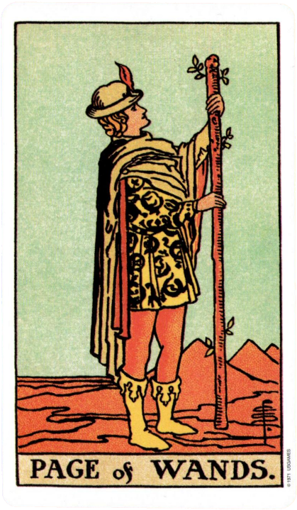 Original Rider Waite Tarot Page of Wands