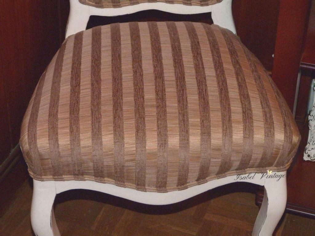 Silla clasica renovada con chalk paint y tapizado isabel vintage - Como tapizar una silla con respaldo ...