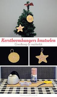 Kerstboomhangers knutselen met karton en bindtouw