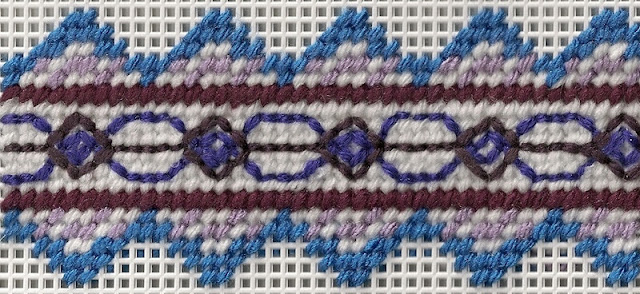 needlepoint border with topstitched diaper pattern