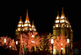 Photograph of the Salt Lake City Utah Temple at night with Christmas lights professionally shot by Cramer Imaging