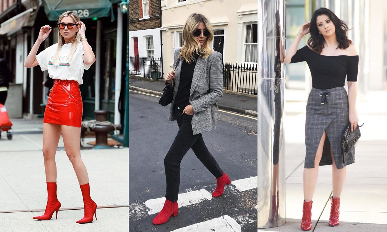 looks com bota vermelha