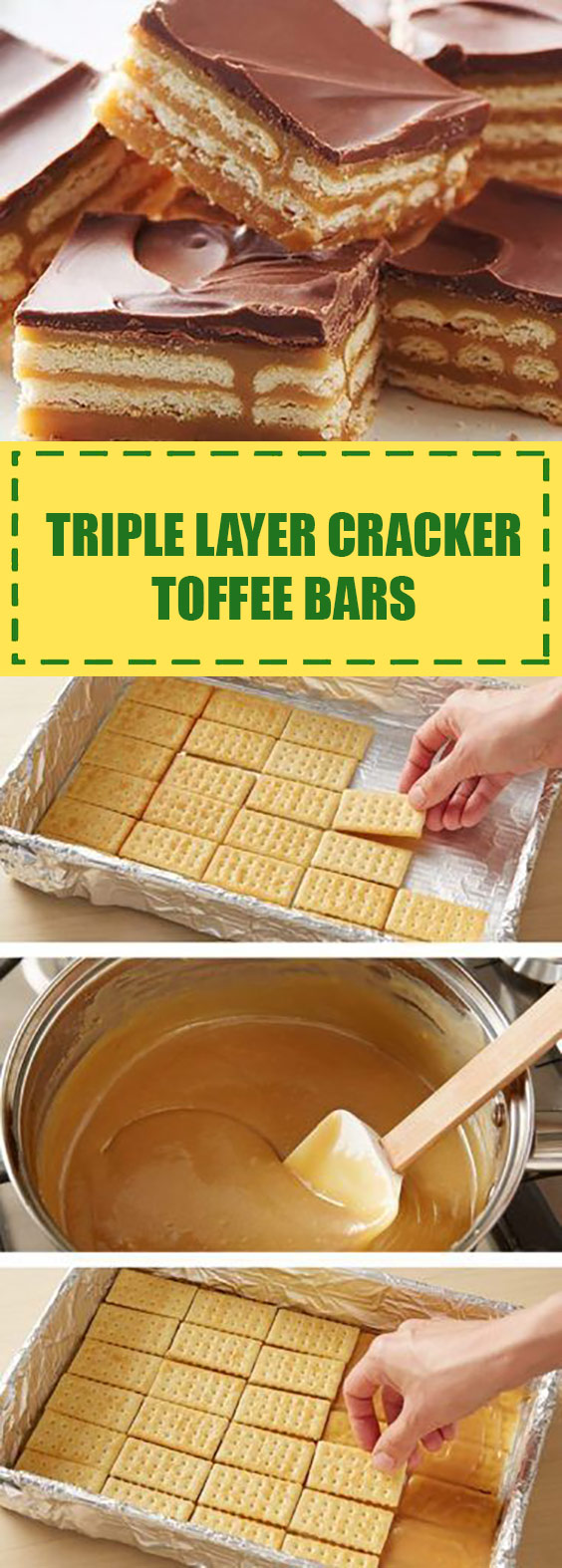 Triple Layer Cracker Toffee Bars