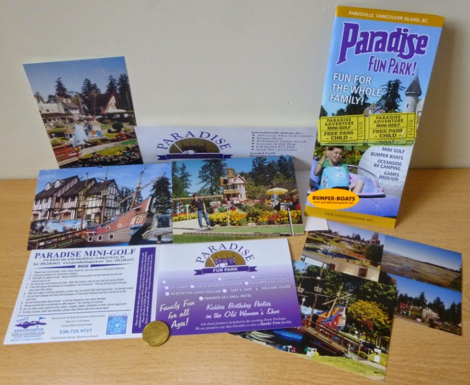A great selection of minigolf ephemera and promotional material from Paradise Fun Park on Vancouver Island