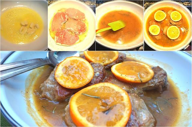 Chuletas de cerdo en salsa de naranja.